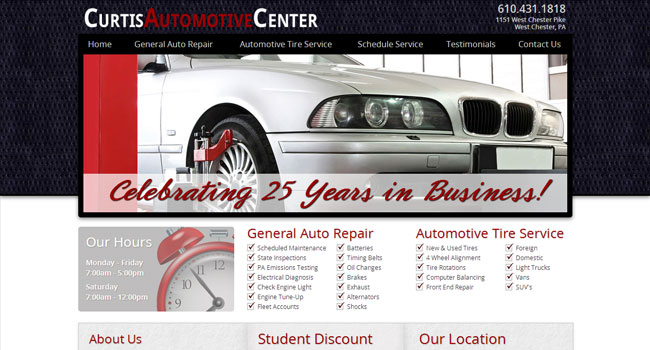 Curtis Automotive Center - Custom Website Design & Development