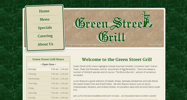 Green Street Grill - Custom Website Design & Development