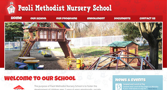 Paoli Methodist Nursery School - Custom Web Design & WordPress Development